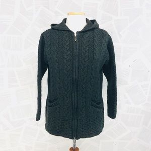 Inis Crafts Merino Wool Hunter Green Zip Cardigan
